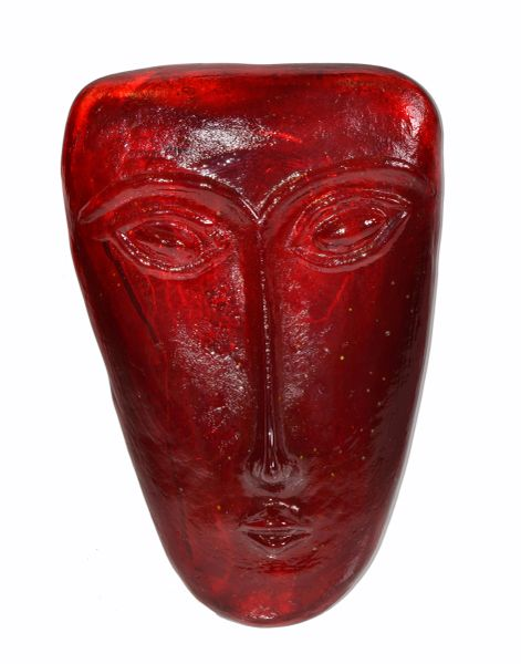 Venetian Mid-Century Modern Blown Red Murano Glass Face Masks, Italy