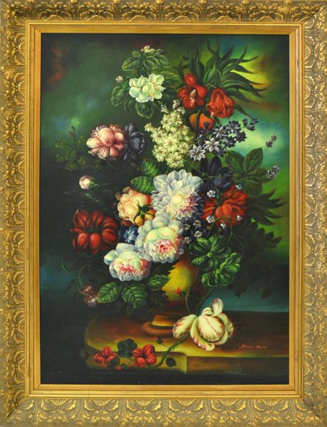 Ornate Gilt Framed Oil Painting Floral Bouquet Still Life Signed James Moran
