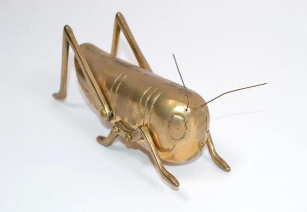 Italian Mid-Century Modern Brass Grasshopper Sculpture, Animal Sculpture 1970