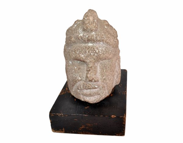 Antique Hand Sculpted Stone Head Sculpture On Formfit Hand Carved Wooden Base