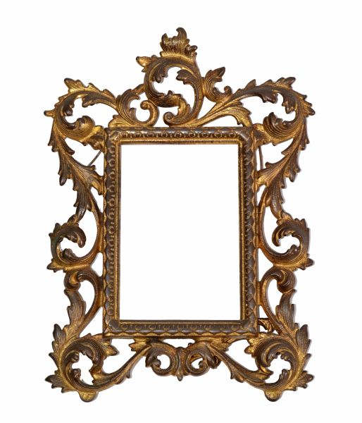 Art Nouveau Whimsical Handcrafted Golden Wrought Iron Picture Frame