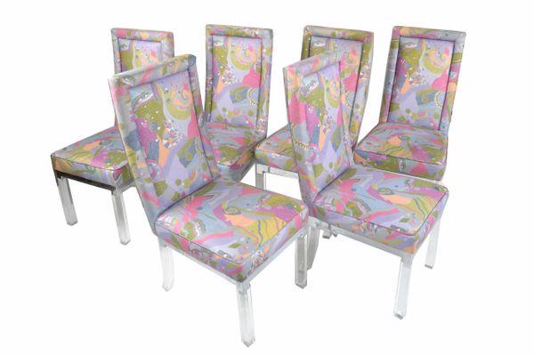 Charles Hollis Jones Mid-Century Modern Acrylic & Chrome Dining Chairs, Set of 6