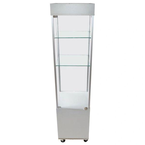 Mid-Century Modern Wood & Glass Showcase, Display Cabinet, Storage Case Casters