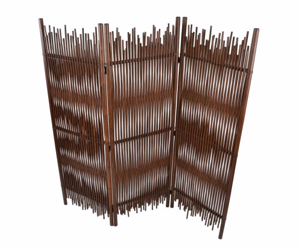 Mid-Century Modern Tall Solid Bamboo Wood Room Divider/Screen/Partition Italy