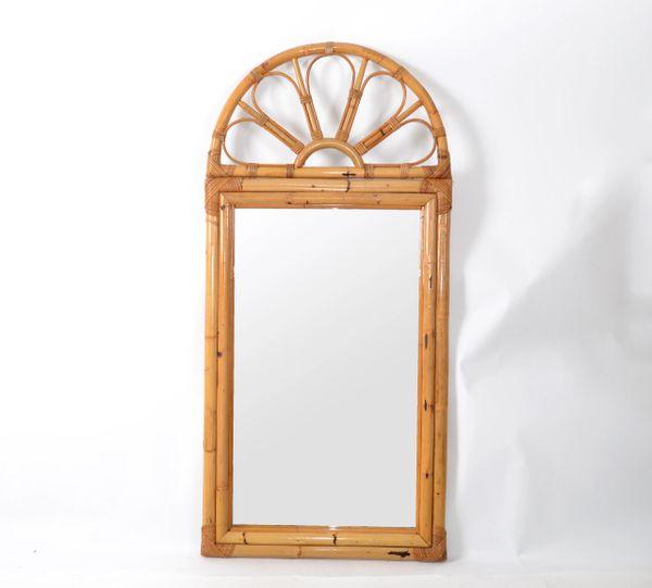 Mid-Century Modern Bohemian Tan Arch Bamboo & Rattan Wall Mirror