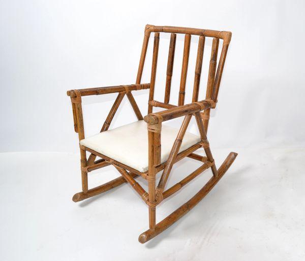 Mid-Century Modern Boho Style Bamboo & Vinyl Children Rocking Chair