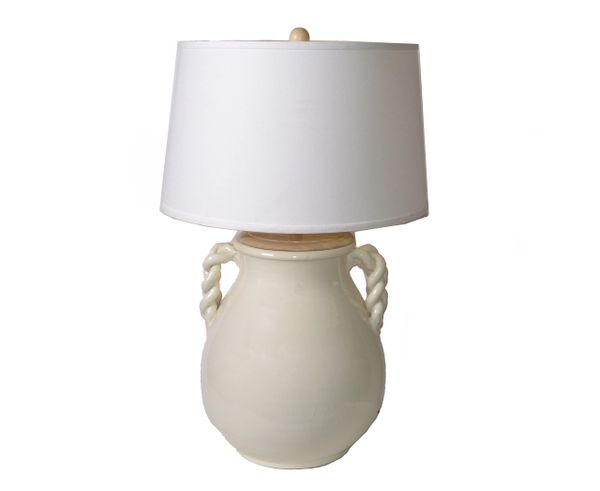 Mid-Century Modern Organic Beige Glazed Ceramic Table Lamp & Linen Shade, USA
