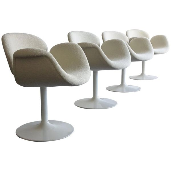 4 Pierre Paulin Swivel Tulip Chairs & Knoll White Bouclé Fabric by Artifort 1960