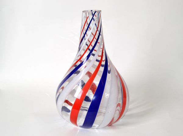 Marked Italian Blown Murano Decorative Vase Swirls of Red, White & Blue Color