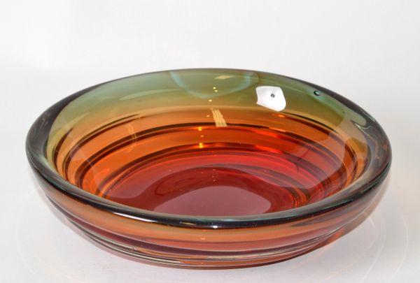 Murano Art Glass Round Red, Orange & Green Blown Glass Catchall, Bowl Italy 1970