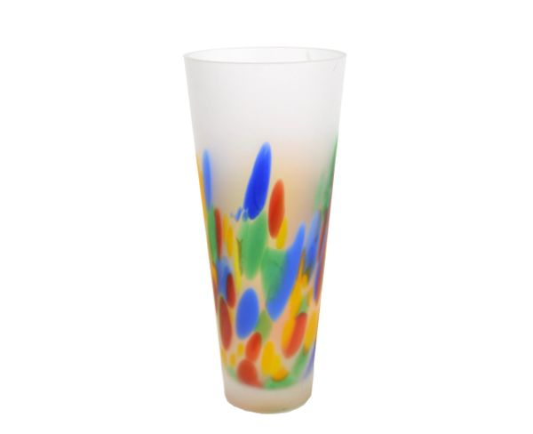 Mid-Century Modern Frosted Murano Art Glass Vase, Italy 1979
