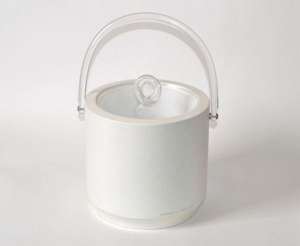 Bucket Brigade 1970 Mid-Century Modern White Leather & Lucite Lidded Ice Bucket