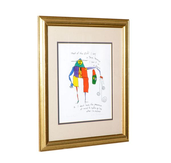 Brian Andreas Story People 'Presence of Mind' Print of Watercolor & Ink Drawing