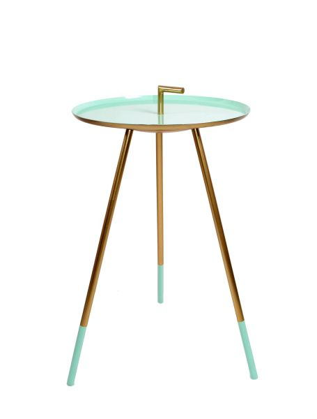 Mid-Century Modern Round Three-Legged Brass & Turquoise Enamel Side Table 1950s