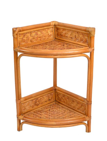 Boho Chic Bamboo and Rattan Handmade Two Tier Corner Shelf, Plant Stand Display