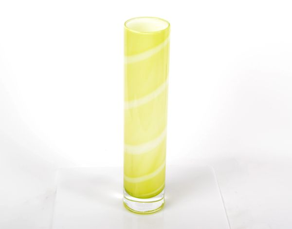 Artist A. Ehrner Kosta Boda Yellow & White Stripes Glass Vase Mid-Century Modern