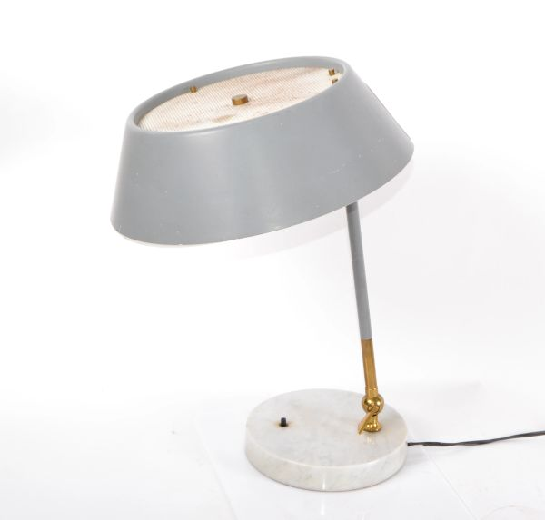 Stilux Italy Mid-Century Modern Adjustable Brass & Marble Desk Lamp Table Lamp