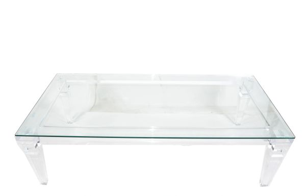 Charles Hollis Jones Mid-Century Modern Lucite & Beveled Glass Coffee Table 1970
