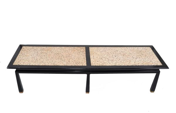 Harvey Probber Mid-Century Modern Asian Style Travertine & Brass Coffee Table