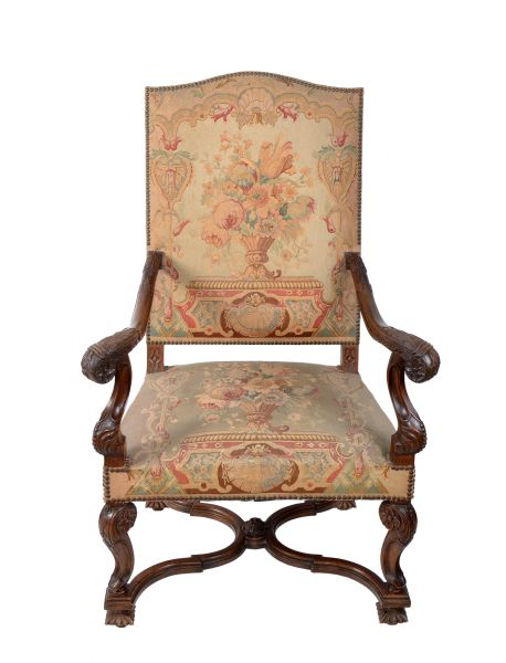 17th Century Hand-Carved Walnut Wood Armchair Needlepoint Upholstery Cross Base