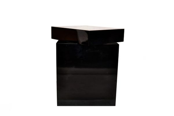 Mid-Century Modern Black Formica Swivel Top Sculpture Stand, Pedestal, Table