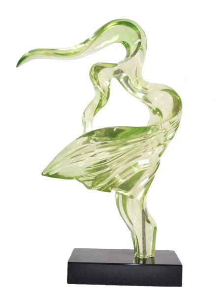 1980 Tall Neon Green Mid-Century Modern Abstract Lucite Sculpture on Black Base
