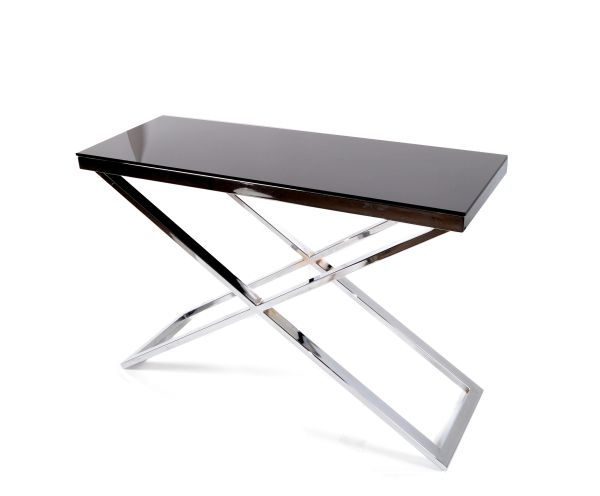 Elegant Contemporary Chrome and Black Glass Top Console With Cross Base