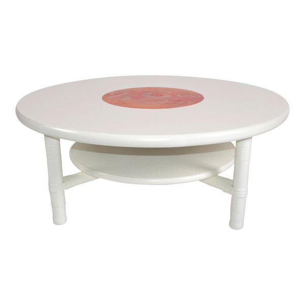 White Bamboo, Rattan & Enamel 2-Tier Round Coffee Table Mid-Century Modern 1970s