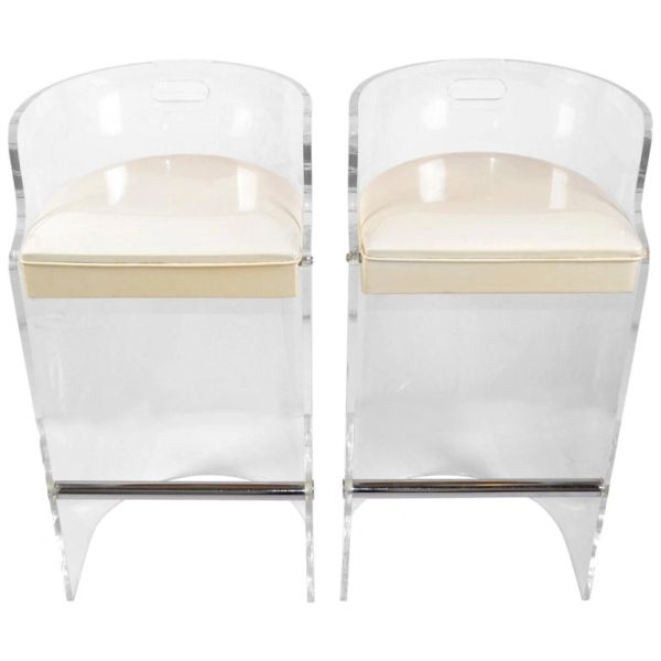 Charles Hollis Jones Lucite, Chrome & White Seat Bar Stools Hills MFG - Pair