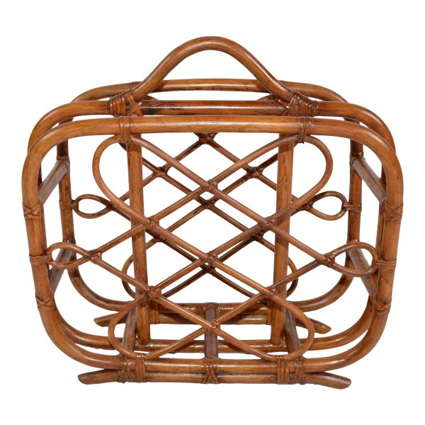 Hollywood Regency Handcrafted Bamboo and Cane Magazine Rack, American 1970s