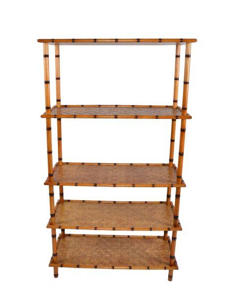 Baker Furniture Attributed Mid-Century Modern 5 Tier Bamboo & Rattan Bookshelf
