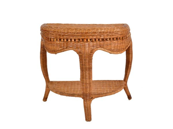 Boho Chic Vintage Handcrafted Bamboo, Cane & Wicker Three Legged Console, Table