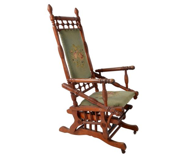 Antique Rocking Chair Hand Carved & Turned Walnut Wood Needlepoint Upholstery