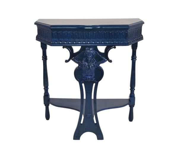 Art Nouveau Hand Carved Wood Console Table, Hallway Table Blue Finish