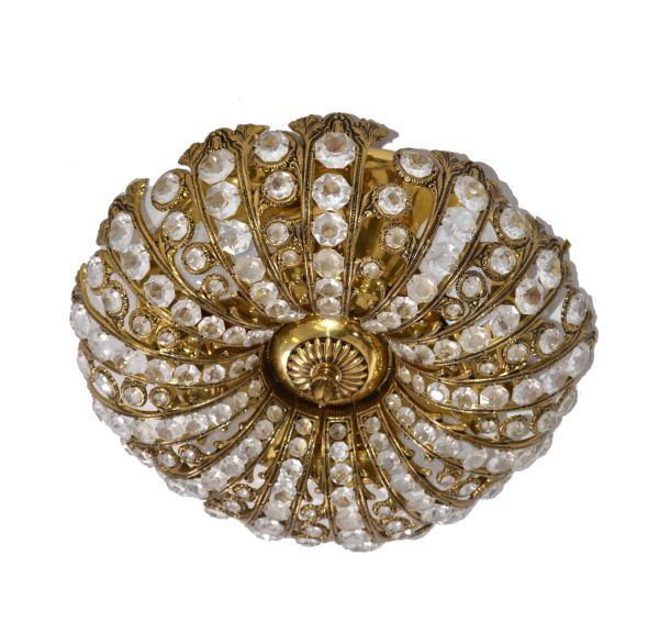 Mid-Century Modern Round Brass & Crystal Flush Mount, Ceiling Light Fixture 1965