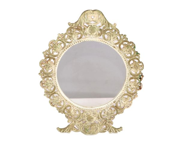 Art Nouveau Cast Iron Table Mirror, Vanity Mirror With Distressed Finish