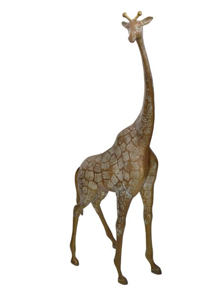 Monumental Mid-Century Modern Hammered Brass & Bronze Giraffe, Animal Sculpture