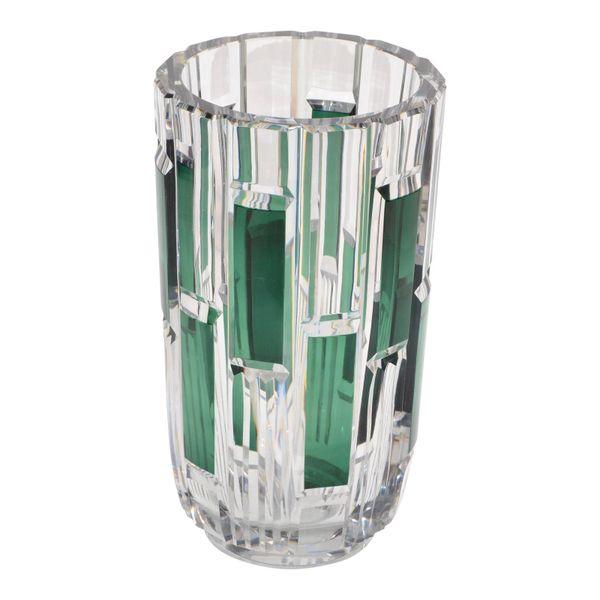 Val Saint Lambert Cut Crystal Vase Charles Graffart Clear & Green Belgium 50s