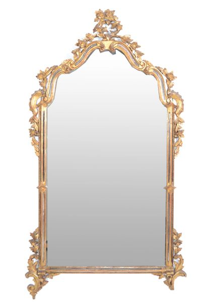 Italian Florentine Hand Carved Gilt Wood & Antique Mirrored Glass Wall Mirror