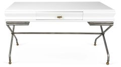 White Lacquered Desk w/ Drawer
