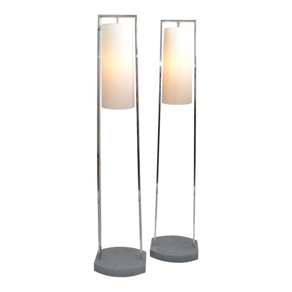 Original Modern Van Teal Chrome & Stone Floor Lamps Fabric Cone Shades, Pair