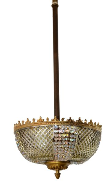 Lobmeyr Style Crystal and Bronze Pendant Light Mid-Century Modern Austria 1950s