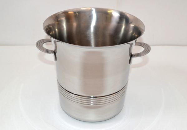 Guy DeGrenne Inox Stainless Steel Modern Champagne Wine Cooler Bucket France