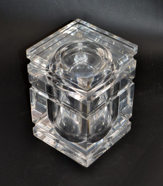 Mid-Century Modern Stacked Lucite Ice Bucket and Attached Swing Lid