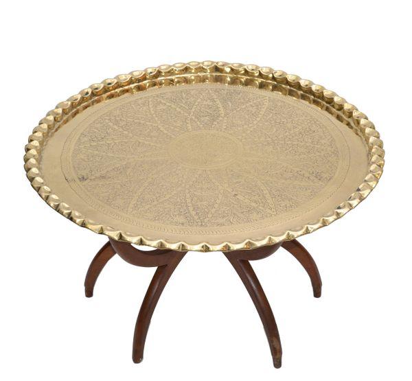 Mid-Century Modern Round Walnut Spider Leg & Bronze Moroccan Tray Coffee Table