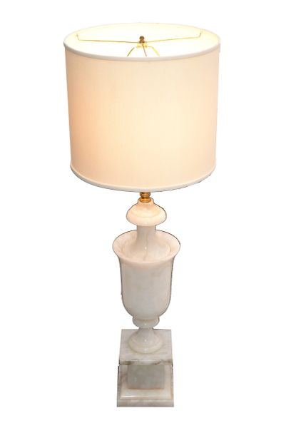 Art Deco Italian White Carrara Marble Hand Carved Table Lamp