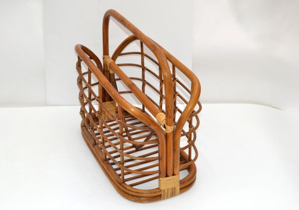 Bohemian Mid-Century Modern Handcrafted Bamboo & Cane Magazine Rack American 70s