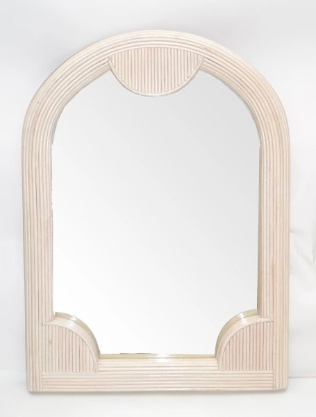 Boho Chic Mid-Century Modern Arch Handmade White Washed Pencil Reed Wall Mirror