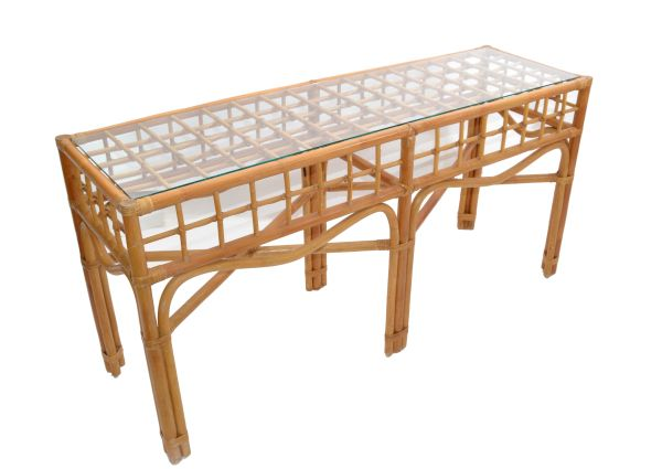 Bohemian Style Handcrafted Bent Bamboo & Rattan Console Table With Glass Top