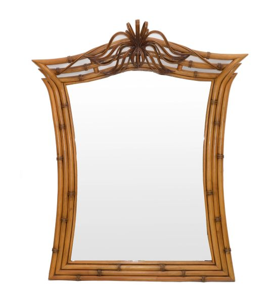 Mid-Century Modern Framed Handcrafted Bamboo, Wood & Wicker Wall Mirror